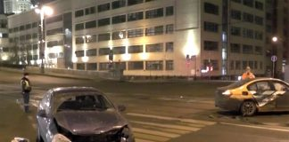 The accident involving a car occurred in the center of Moscow