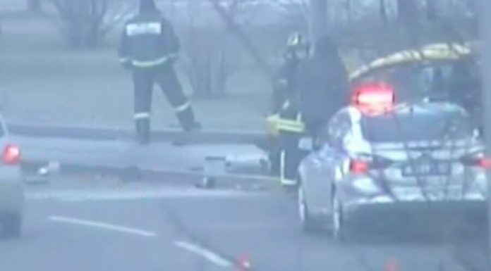 The car is in the South-East of Moscow caught fire after the accident
