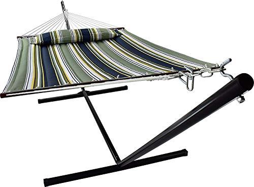 VITA5 Hängematte mit Gestell Outdoor, Bis zu 2 Personen / 200kg, 190 * 140, Entfernbarer Kopfkissen, Wetterfest UV-beständig (dunkelblau/dunkelgrün)