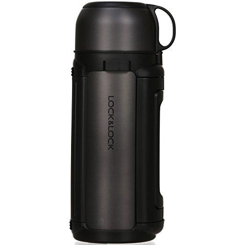 LOCK & LOCK Isolierkanne 1,5 Liter - NEW GIANT HOT TANK - Isolierflasche Edelstahl auslaufsicher - Thermo Warmhaltekanne für Kaffee, Tee & Kaltes - Anthrazit