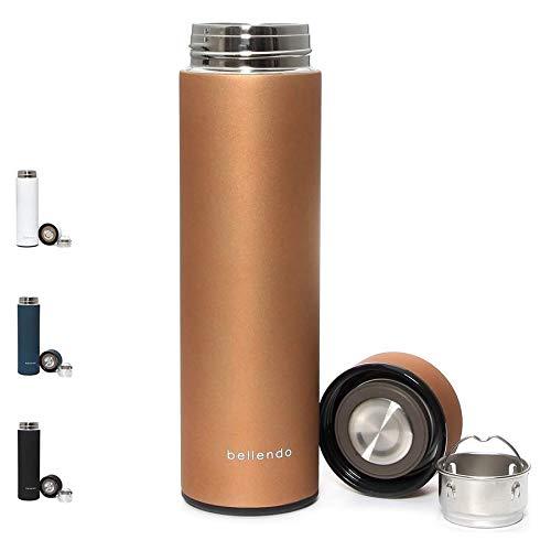 bellendo Edelstahl Isolierflasche klein 0,5 l - Kleine Design Isolierkanne Teeflasche 500ml - Kaffee und Tee to Go Flasche mit Teesieb, Gold