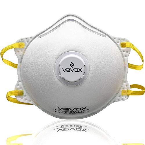 VEVOX FFP2 Atemschutzmasken zur Prophylaxe von Schmier- & Tröpfcheninfektionen - im 1er oder 5er Set - Individuell anpassbar für Kinder & Erwachsene - Atem & Mundschutz, Feinstaub- & Staubmaske